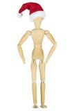 Drewniany mannequin z Santa kapeluszem Zdjęcia Royalty Free