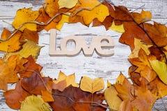Drewniany miłość znak na podławym białym drewnianym tle z żółtymi liśćmi, jesień pojęcia odosobniony biel Odgórny widok Obraz Royalty Free