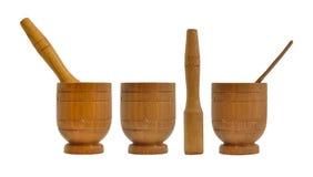 Drewniany moździerz, kitchenware zdjęcia royalty free