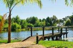 Drewniany molo na jeziorze Zdjęcia Stock