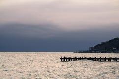 Drewniany molo na morzu Obrazy Royalty Free