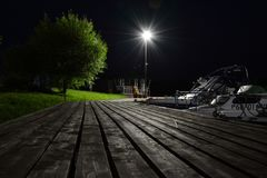 Drewniany molo przy nocą Obraz Stock
