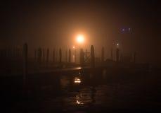 Drewniany molo w nocy Obraz Royalty Free
