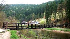 Drewniany most blisko wioski Zdjęcie Stock