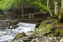 Drewniany most nad szybką halną rzeką zdjęcie royalty free