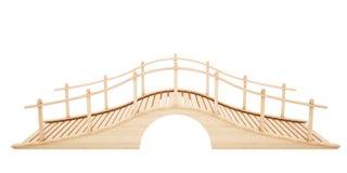 Drewniany most odizolowywający na białym tle Obruszenie widok 3D rende Zdjęcie Stock