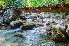 drewniany most przez strumienia Zdjęcie Royalty Free