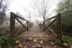 Drewniany most w jesieni Fotografia Royalty Free