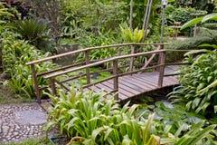 Drewniany most w pięknym ogródzie Zdjęcie Royalty Free