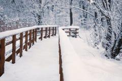 Drewniany most w zima śnieżnym dniu, perspektywiczny widok bez ludzi, zdjęcia stock