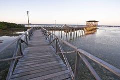 Drewniany most wzdłuż linii brzegowej Obraz Royalty Free