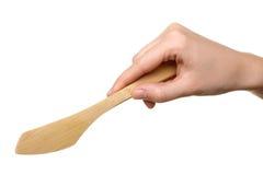 Drewniany nóż w ręce Obraz Stock