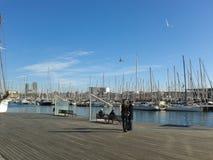 Drewniany nabrzeże dla białych jachtów fotografia stock