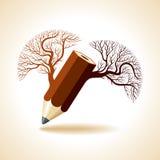 Drewniany ołówek z drzewem Zdjęcia Stock