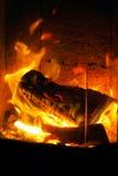 Drewniany ogień w kuchence Zdjęcia Stock