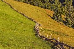 Drewniany ogrodzenie i obszary trawiaści Zdjęcia Royalty Free