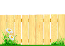 Drewniany ogrodzenie i zielona trawa Obrazy Stock