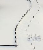Drewniany ogrodzenie kontrastuje w świeżym łąkowym zimnym białym śniegu Obrazy Royalty Free