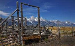 Drewniany ogrodzenie, Uroczysty Tetons park narodowy, Wyoming obraz stock