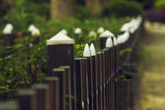 Drewniany ogrodzenie w parku Obraz Royalty Free