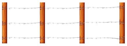 Drewniany ogrodzenie z barbwires ilustracji
