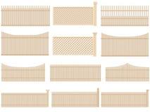 Drewniany ogrodzenie z pojemnością i cieniami. Ilustracja Wektor