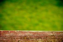 Drewniany ogrodzenie z zieloną łąką - selekcyjna ostrość zdjęcie stock