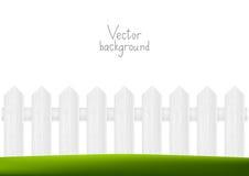 Drewniany ogrodzenie z zieloną trawą Zdjęcia Royalty Free
