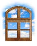 Drewniany okno z niebieskim niebem Zdjęcie Royalty Free