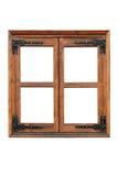 Drewniany okno z patka zawiasami Zdjęcie Royalty Free