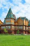 Drewniany pałac tzar Aleksey Mikhailovich w Kolomenskoe odbudowie, Moskwa, Rosja Zdjęcie Stock