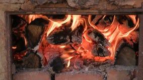 Drewniany palenie w kuchence w grabie lub Tekstura płomień Szum tła Materiał filmowy klamerka 4K zdjęcie wideo