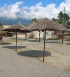 Drewniany parasol na plaży Obraz Stock