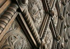 drewniany piękny rzeźbiący drzwi Obraz Royalty Free