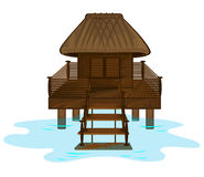 Drewniany plażowy dom na białym tle royalty ilustracja