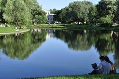 Drewniany plandeki wody lustra spojrzenie Lato gorący greenfield Trawa fotografia royalty free