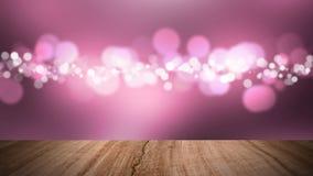 Drewniany podłoga i bokeh różowy tło Fotografia Stock