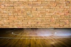 Drewniany podłogowy boisko do koszykówki Obraz Royalty Free
