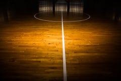 Drewniany podłogowy boisko do koszykówki Fotografia Stock