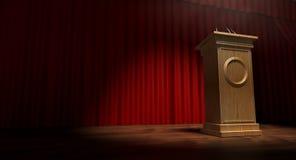 Drewniany podium Na Curtained scenie Obraz Stock