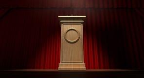 Drewniany podium Na Curtained scenie Fotografia Royalty Free