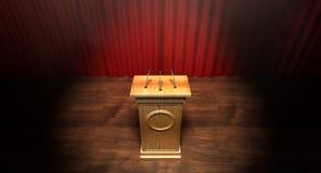 Drewniany podium Na Curtained scenie Obrazy Stock