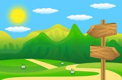 Drewniany pointer zielony gazon ilustracji