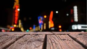 Drewniany pokład i zamazana ulica zbiory