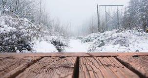 Drewniany pokład 4k i śnieg zbiory wideo