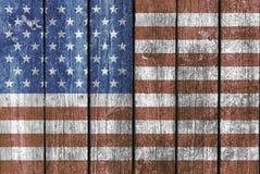 Drewniany pokład z flaga amerykańską fotografia stock