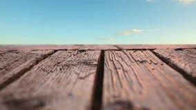 Drewniany pokład z widokiem nieb zbiory wideo