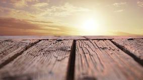 Drewniany pokład z widokiem zmierzchu zbiory