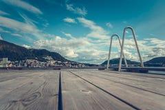 Drewniany pokład w Bergen obraz royalty free