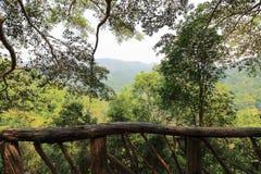 Drewniany poręcz z pięknym natury tłem Zdjęcie Royalty Free
